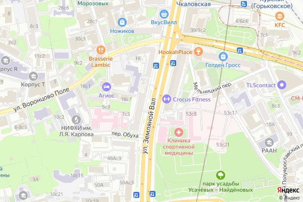 Ремонт телевизоров Улица Земляной Вал на яндекс карте