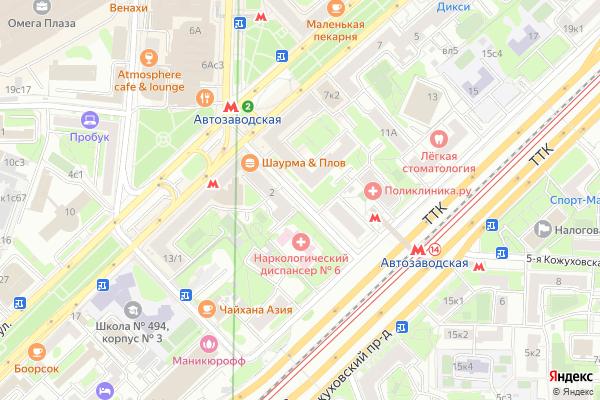 Ремонт телевизоров 2 й Автозаводский проезд на яндекс карте