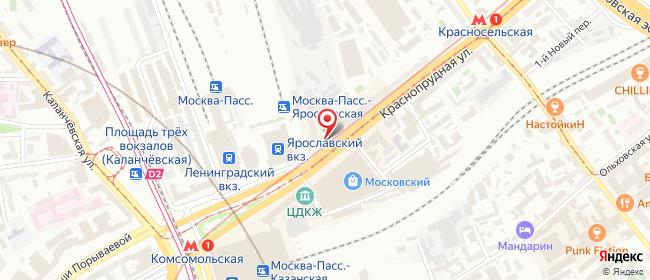 Карта расположения пункта доставки Москва Краснопрудная в городе Москва