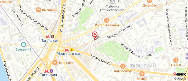 Карта расположения пункта доставки Москва Товарищеский в городе Москва