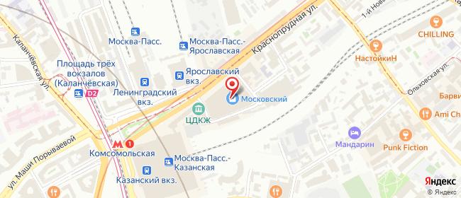Карта расположения пункта доставки Москва Комсомольская в городе Москва