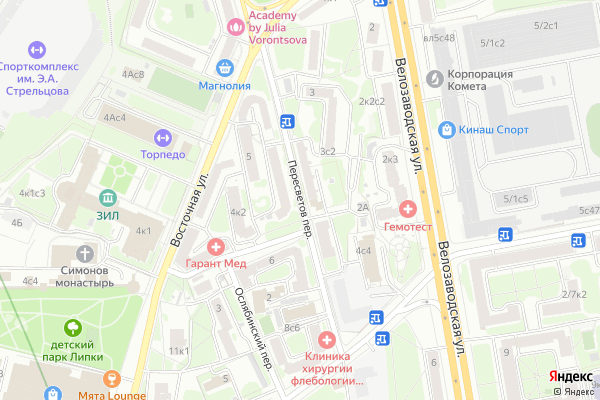 Ремонт телевизоров Пересветов переулок на яндекс карте