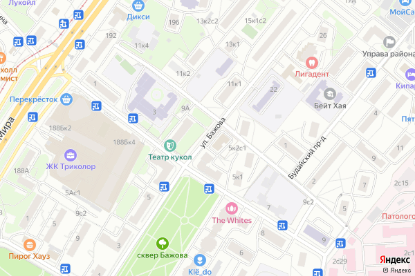 Ремонт телевизоров Улица Бажова на яндекс карте