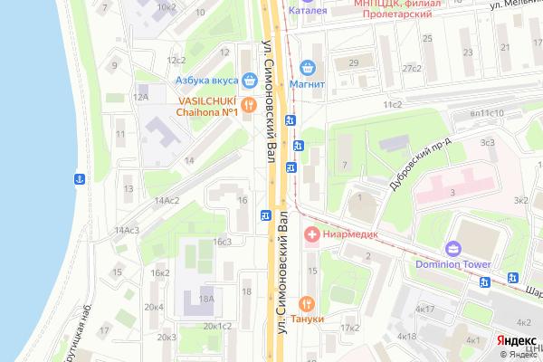 Ремонт телевизоров Улица Симоновский Вал на яндекс карте