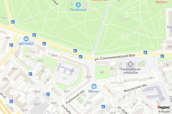 Ремонт телевизоров Улица Сокольнический Вал на яндекс карте