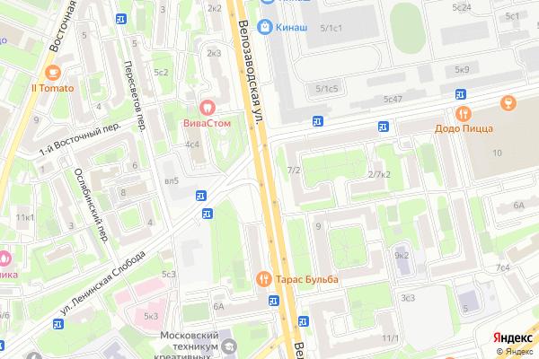Ремонт телевизоров Улица Велозаводская на яндекс карте