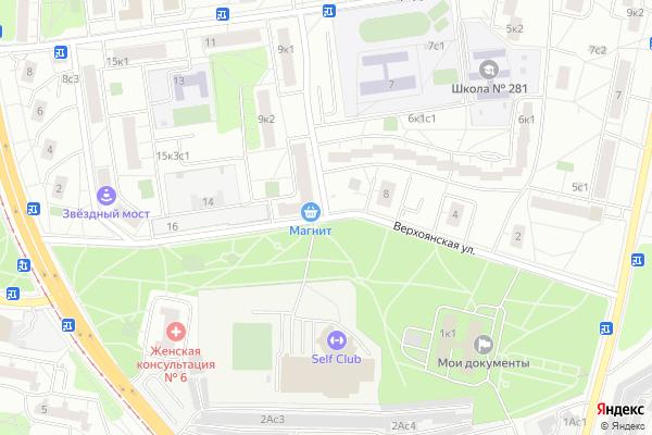 Ремонт телевизоров Улица Верхоянская на яндекс карте