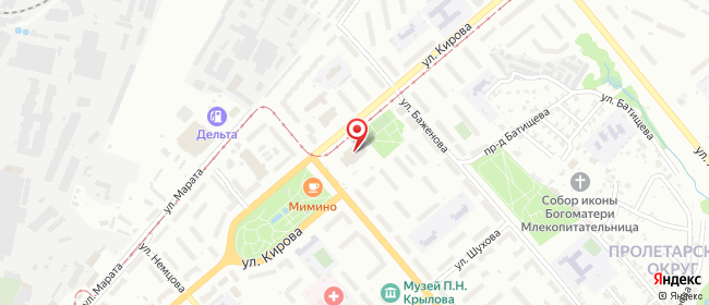 Карта расположения пункта доставки Тула Кутузова в городе Тула