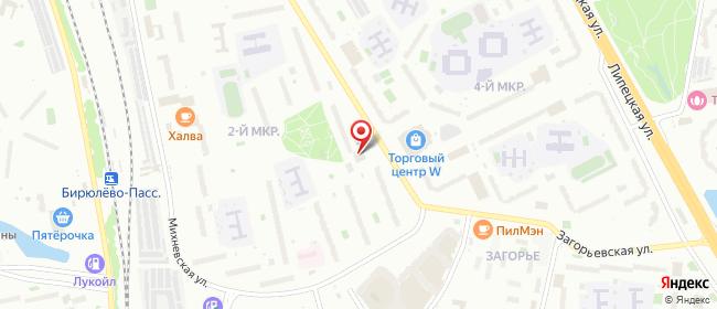 Карта расположения пункта доставки Москва Бирюлёвская в городе Москва