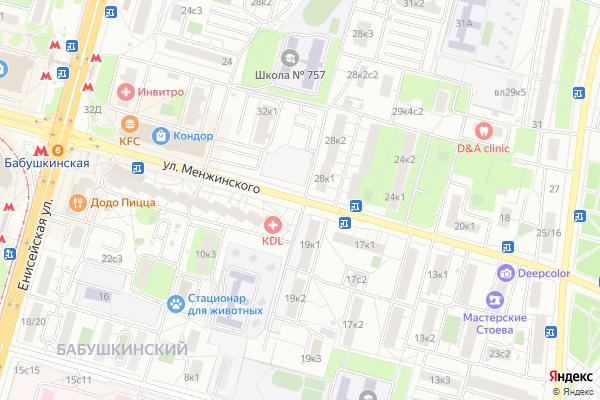 Ремонт телевизоров Улица Менжинского на яндекс карте