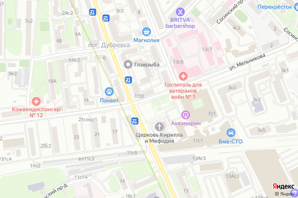Ремонт телевизоров Улица Мельникова на яндекс карте