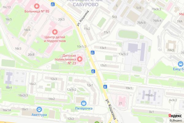 Ремонт телевизоров Улица Кошкина на яндекс карте