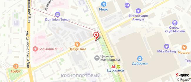 Карта расположения пункта доставки Москва Шарикоподшипниковская в городе Москва