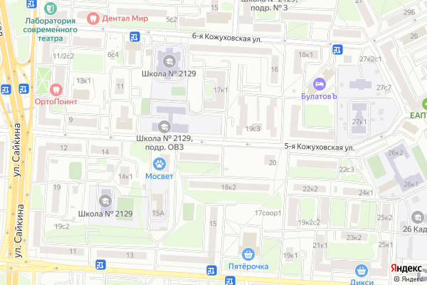 Ремонт телевизоров Улица 5 я Кожуховская на яндекс карте