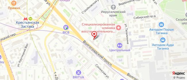 Карта расположения пункта доставки Москва Волгоградский в городе Москва