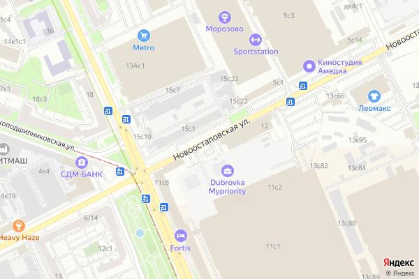 Ремонт телевизоров Улица Новоостаповская на яндекс карте
