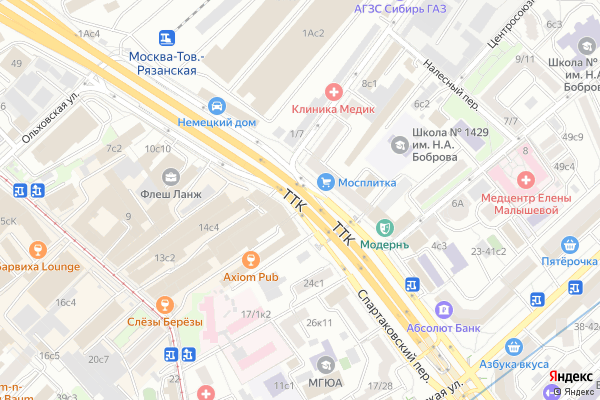 Ремонт телевизоров Спартаковская площадь на яндекс карте