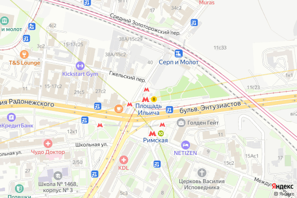 Ремонт телевизоров Метро Площадь Ильича на яндекс карте