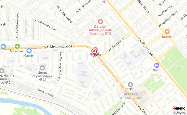 Карта расположения пункта доставки Тула Металлургов в городе Тула