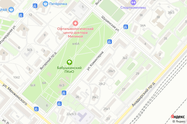 Ремонт телевизоров Улица Коминтерна на яндекс карте