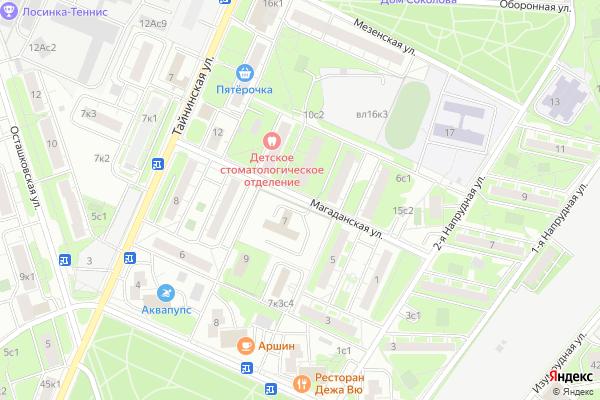 Ремонт телевизоров Улица Магаданская на яндекс карте