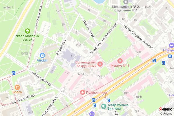 Ремонт телевизоров Улица Большая Остроумовская на яндекс карте