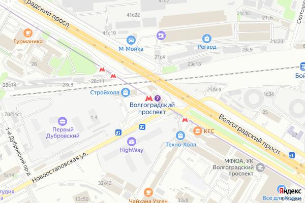 Ремонт телевизоров Метро Волгоградский проспект на яндекс карте