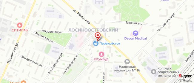 Карта расположения пункта доставки Москва Малыгина в городе Москва