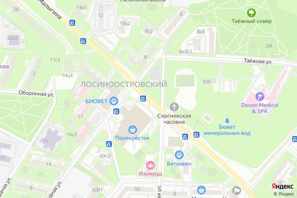 Ремонт телевизоров Улица Малыгина на яндекс карте