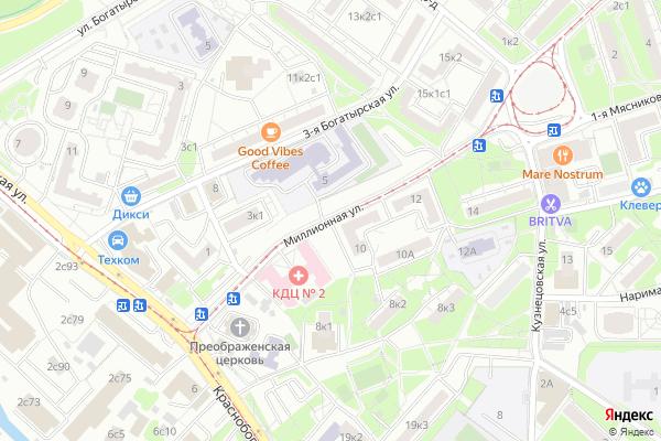Ремонт телевизоров Улица Миллионная на яндекс карте