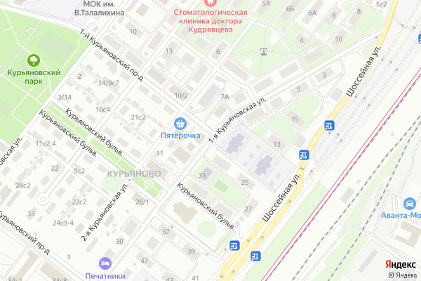 Ремонт телевизоров Улица 1 я Курьяновская на яндекс карте
