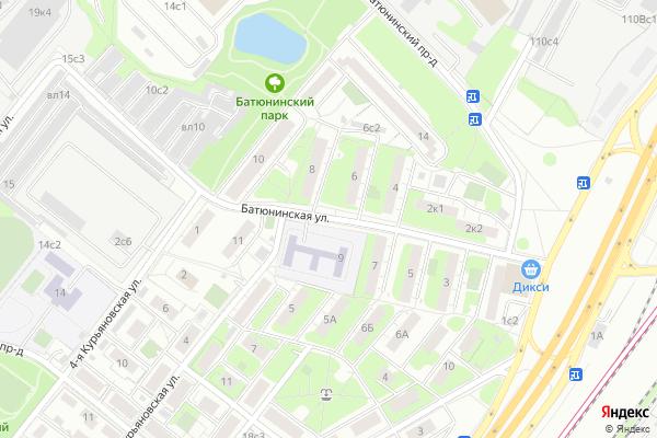 Ремонт телевизоров Улица Батюнинская на яндекс карте