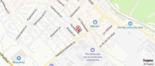Карта расположения пункта доставки Новороссийск (Гайдук) Полевая в городе Новороссийск