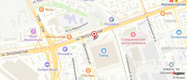 Карта расположения пункта доставки Москва Энтузиастов в городе Москва