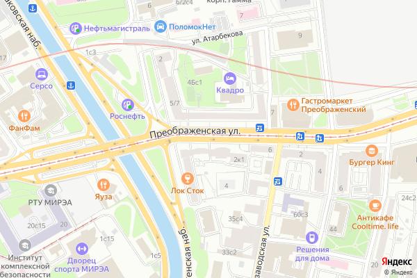 Ремонт телевизоров Улица Преображенская на яндекс карте