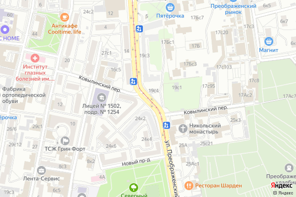 Ремонт телевизоров Улица Преображенский Вал на яндекс карте