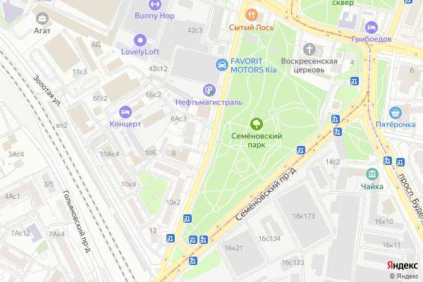Ремонт телевизоров Улица Семеновский Вал на яндекс карте