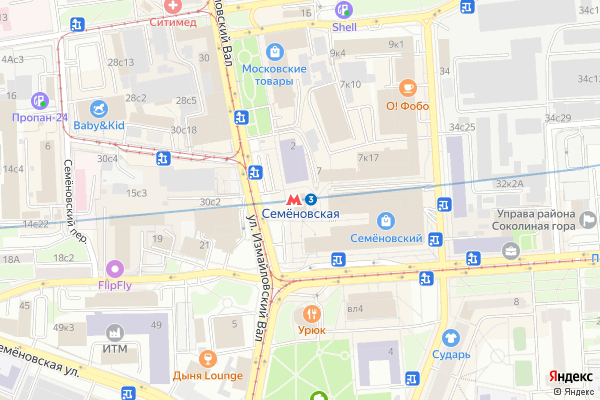 Ремонт телевизоров Метро Семновская на яндекс карте