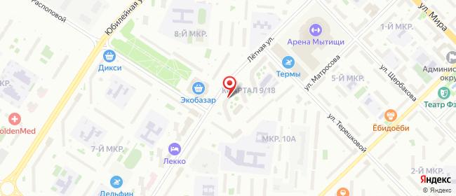 Карта расположения пункта доставки Пункт выдачи в городе Мытищи