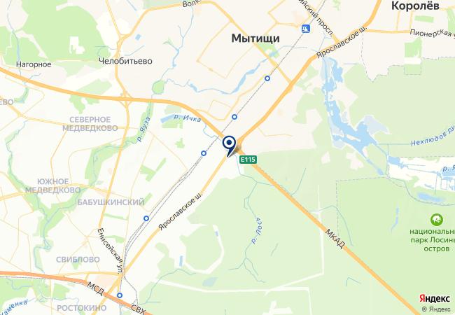 Расположение клиники «Медлайн-Сервис» на Ярославском шоссе