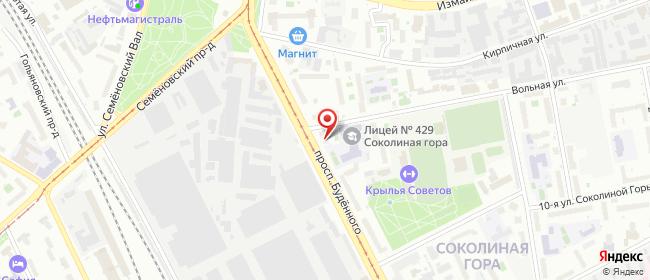 Карта расположения пункта доставки Москва Буденного в городе Москва