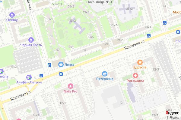 Ремонт телевизоров Улица Ясеневая на яндекс карте