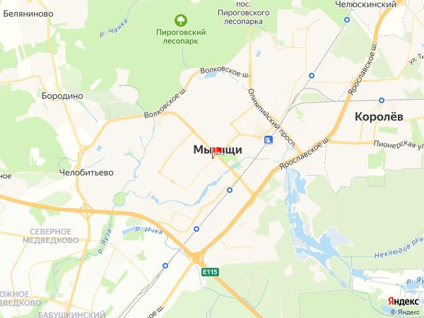 Карта город Мытищи