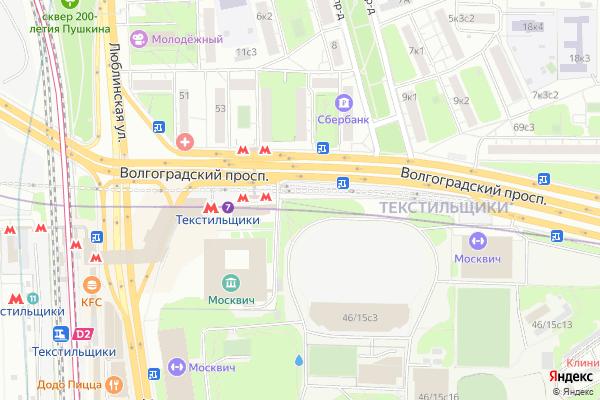 Ремонт телевизоров Район Текстильщики на яндекс карте