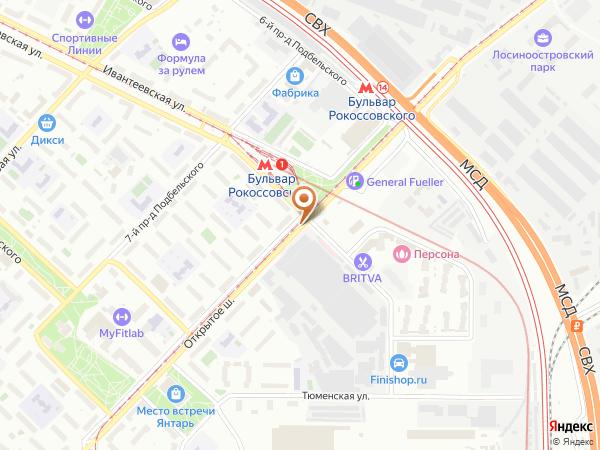 Остановка «Метро Бульв. Рокоссовского», Открытое шоссе (7118) (Москва)