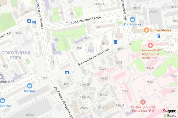 Ремонт телевизоров Улица 9 я Соколиной Горы на яндекс карте