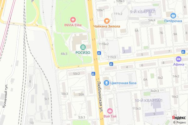 Ремонт телевизоров Улица Люблинская на яндекс карте