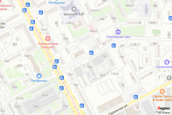 Ремонт телевизоров Улица 3 я Соколиной Горы на яндекс карте