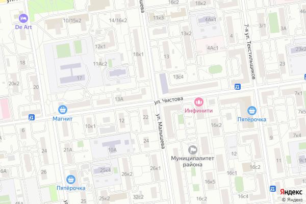 Ремонт телевизоров Улица Чистова на яндекс карте
