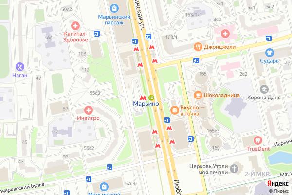 Ремонт телевизоров Метро Марьино на яндекс карте
